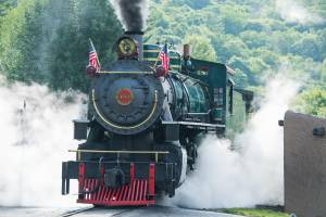 A historic coal-powered steam locomotive at Tweetsie Railroad, Blowing Rock, North Carolina.