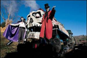 Two professional actors dressed at a Vampire and Darkus Knight on the Ghost Train at Tweetsie Railroad, Blowing Rock, North Carolina