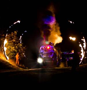 The Ghost Train passing through a ring of fire during the Ghost Train Halloween Festival at Tweetsie Railroad, Blowing Rock, North Carolina