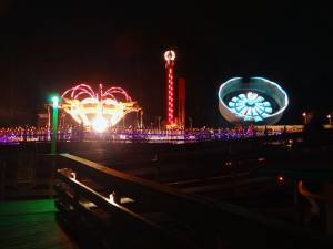 The amusement rides lit up at night for the Ghost Train Halloween Festival at Tweetsie Railroad, Blowing Rock, North Carolina
