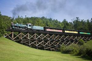 Historic coal-powered steam locomotive, No. 190,  going over Dead Horse Trestle, at Tweetsie Railroad, Blowing Rock, North Carolina.