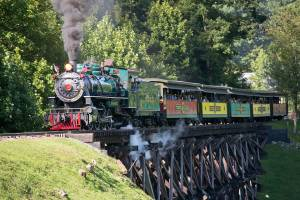 Historic coal-powered steam locomotive, No. 190,  on the trestle at Tweetsie Railroad, Blowing Rock, North Carolina.
