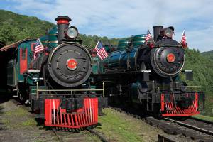 Two historic coal-powered steam locomotives at Tweetsie Railroad, Blowing Rock, North Carolina.