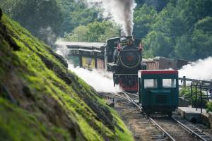 Historic coal-powered steam locomotive, No. 190, and the rail car,  at Tweetsie Railroad, Blowing Rock, North Carolina.
