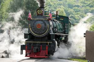 Historic coal-powered steam locomotive, No. 190,  at Tweetsie Railroad, Blowing Rock, North Carolina.